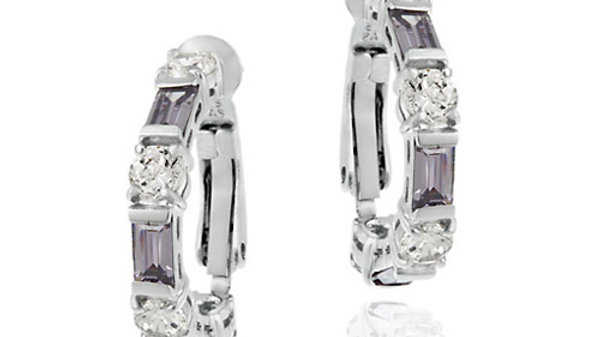 Sterling Silver Amethyst & White CZ Hoop Earrings