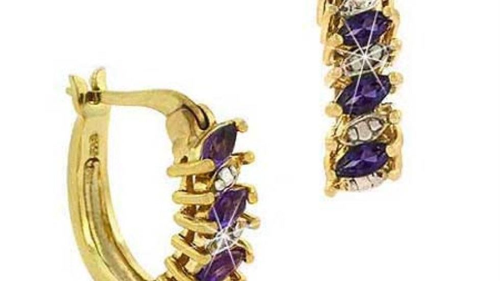 18K Gold over Sterling Silver Amethyst & Diamond Accent Hoop Earrings