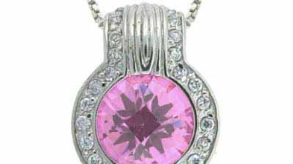 Sterling Silver Pink CZ and Simulated Diamond CZ round Pendant