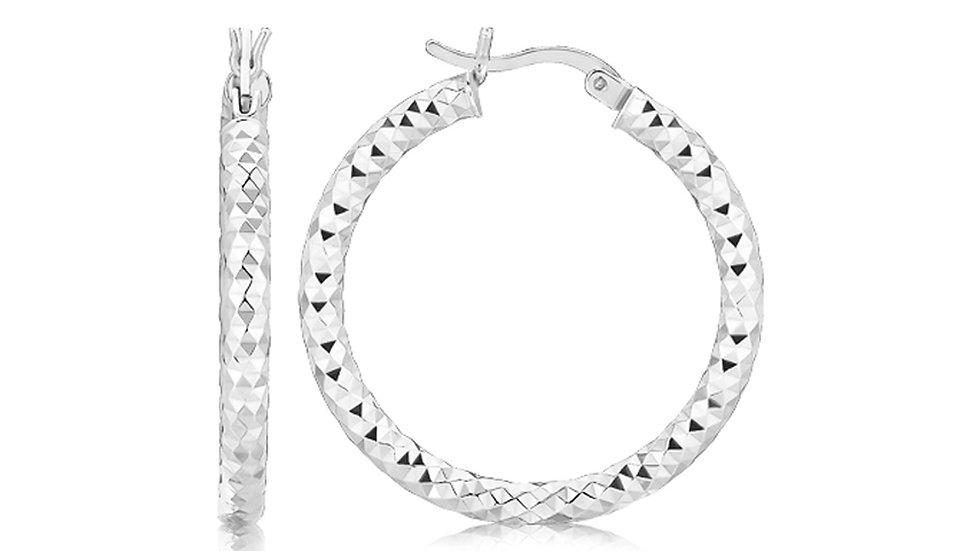 Sterling Silver Rhodium Plated Faceted Style Medium Hoop Earrings