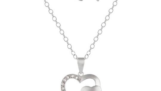 Sterling Silver CZ Twin Heart Necklace & Stud Earrings Set