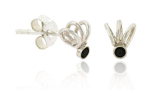 Sterling Silver Black Rhinestone Swirl Mini Stud Earrings