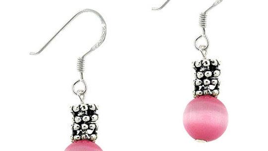 Sterling Silver Pink Cats Eye & Bali Bead Dangle Earrings