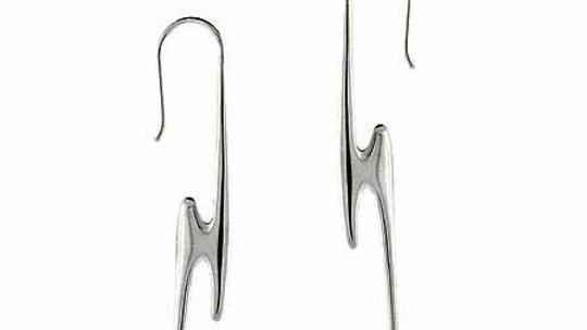 Sterling Silver Lightning Bolt Dangle Earrings