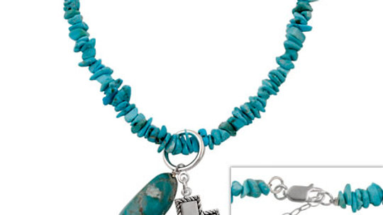 Sterling Silver & Genuine Turquoise Chip Religious Inspirational Necklace