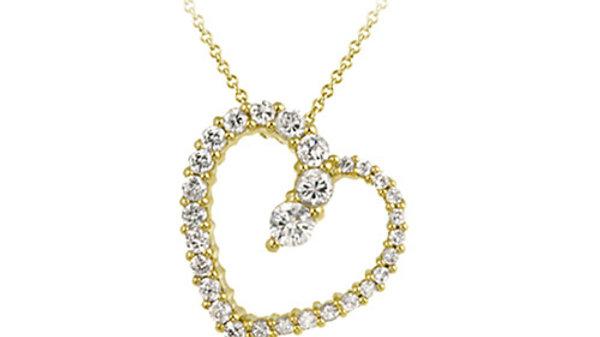 18K Gold over Sterling Silver CZ Floating Open Heart Journey Pendant