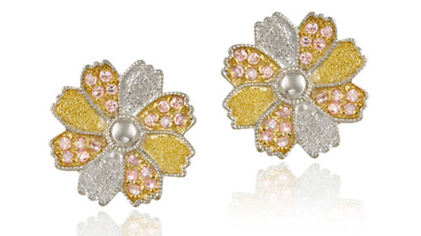 Sterling Silver & 18K Gold Overlay Pink CZ Flower Stud Earrings