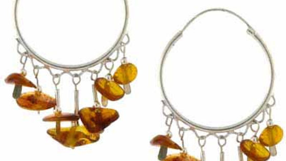 Sterling Silver Amber Chip Hoop Earrings