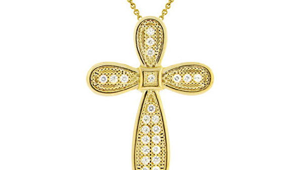 18K Gold over Sterling Silver CZ Micro Pave Cross Pendant