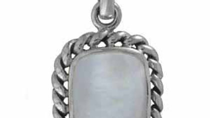 Sterling Silver Vintage Genuine Mother of Pearl Pendant