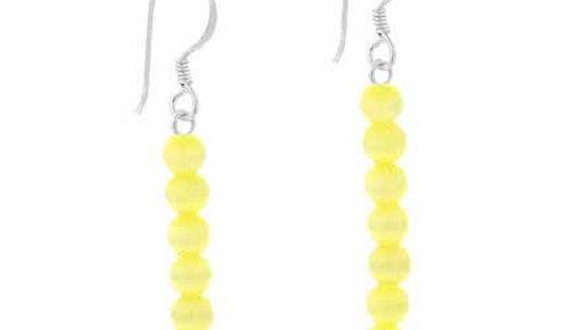 Sterling Silver Yellow Cats Eye Bead Dangle Earrings