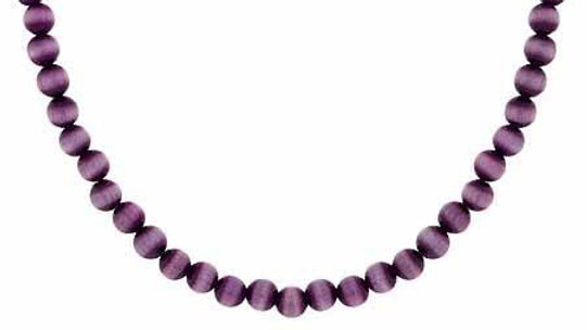 "Silver 4mm Simulated Purple Cats Eye Stone Beaded Chain 15-19"" Necklace"