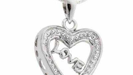 Sterling Silver 'Love' Open Heart Filigree Pendant