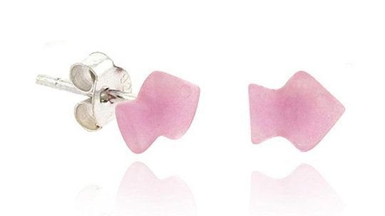 Sterling Silver Pink Arrow Children's Stud Earrings