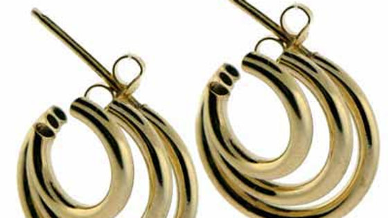 18K Gold over Sterling Silver Graduating Tri-Hoops