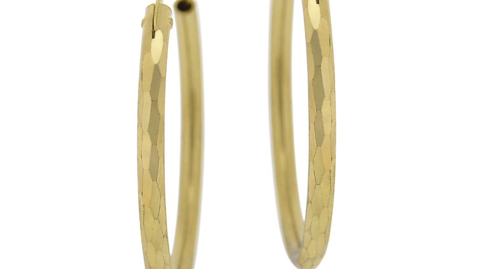 18K Gold Plated Brass 35mm Hammered Hoop Earrings