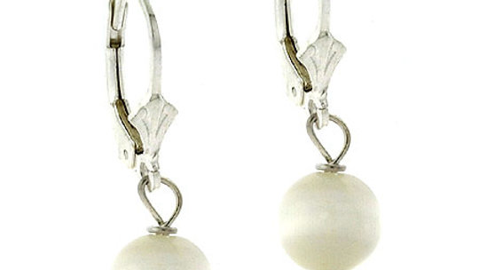 Sterling Silver 8mm White Cats Eye Bead Lever-Back Earrings