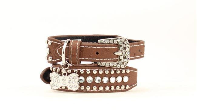 Blazin Roxx 9300802-M Bling Tapered Dog Collar; Brown - Medium