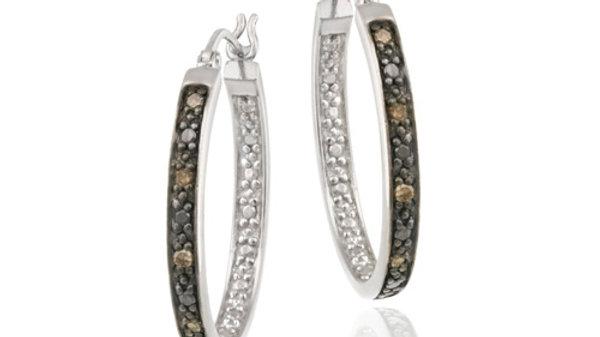Sterling Silver .10ct. TDW Champagne Diamond 25mm Oval Hoop Earrings