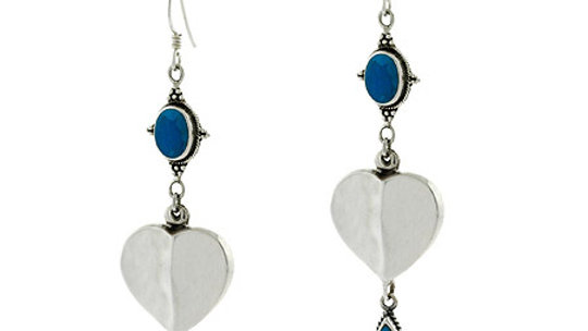 Sterling Silver Created Blue Turquoise Heart Dangle Earrings