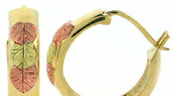18K Gold over Sterling Sillver Tri Color Leaf Hoop Earrings