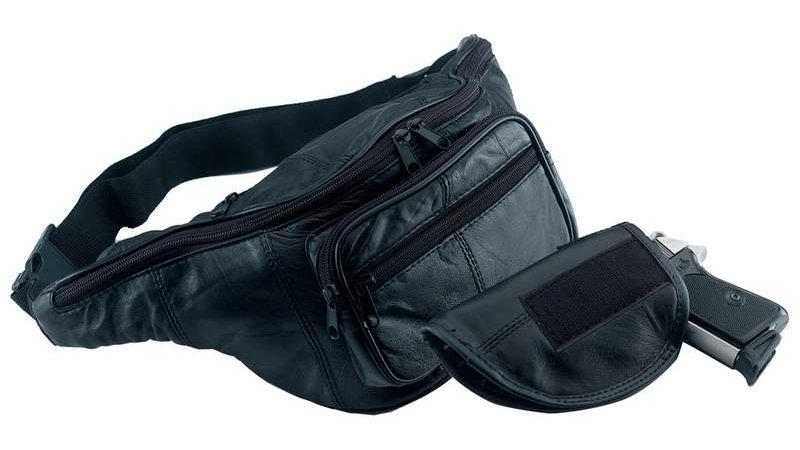 LEATHER GUN HOLDER BELT BAG