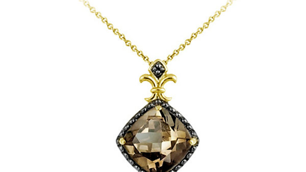 18K G over Silver 4.55ct. TGW Smokey Quartz and Champagne Diamond Accent Pendant