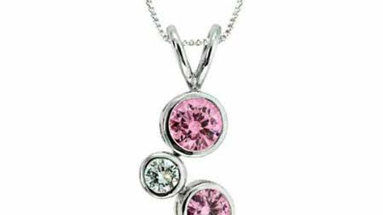 Sterling Silver Pink & Clear CZ Designer Inspired Bubble Pendant