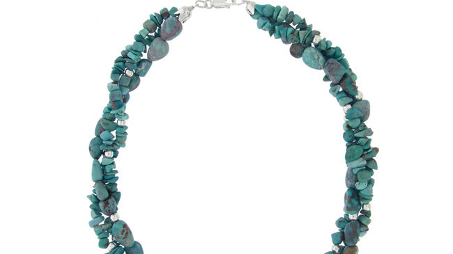 Sterling Silver 3-Strand Created Turquoise Chip & Bead Necklace