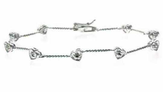 Sterling Silver Diamond Accent Heart Tennis Bracelet