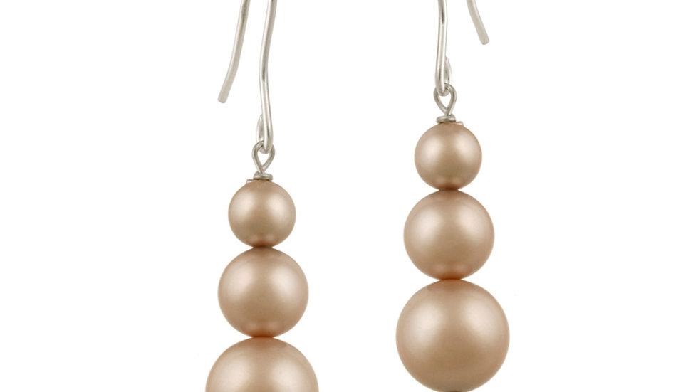 Sterling Silver Almond Swarovski Elements Pearl Drop Earrings