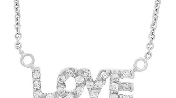 Sterling Silver CZ 'Love' Necklace