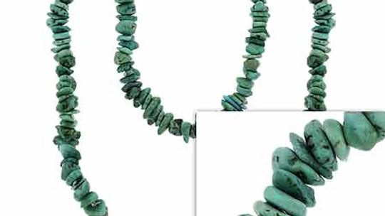 Genuine Green Turquoise Stone Chip One Strand Layer Necklace 36""