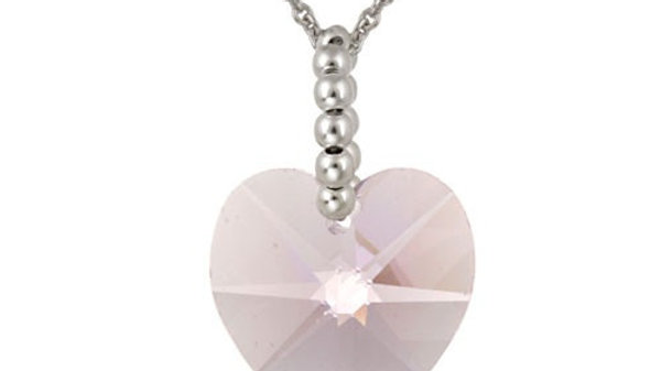 Sterling Silver Lavender Swarovski Elements Heart Pendant