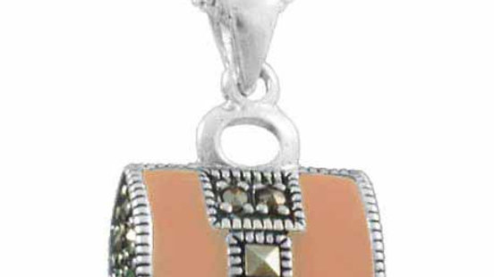 Sterling Silver Marcasite Pink Purse Pendant