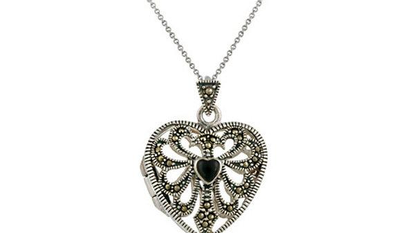 Sterling Silver Marcasite & Onyx Filigree Heart Locket Pendant