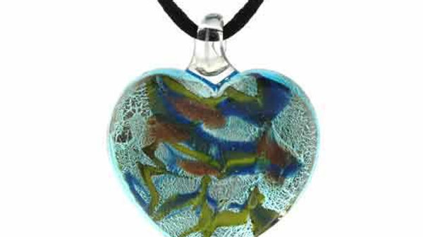 Murano Glass Bronze Gold Glitter Blue, L. Green Heart Silk Pendant Necklace