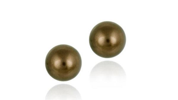Sterling Silver Copper Swarovski Elements Pearl Stud Earrings, 8mm