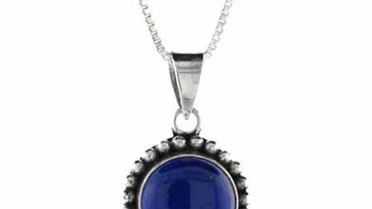 Sterling Silver Lapis Bali Beaded Circle Pendant