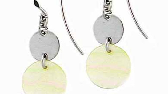Sterling Silver Platinum Silver Disk Circular Mother Of Pearl Dangling Earrings