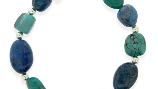 Sterling Silver Denim Lapis & Created Turquoise Nuggets Bracelet