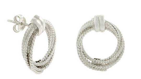 Sterling Silver Cable Twist Open Circle Earrings