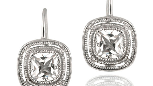 Sterling Silver CZ Square Leverback Earrings