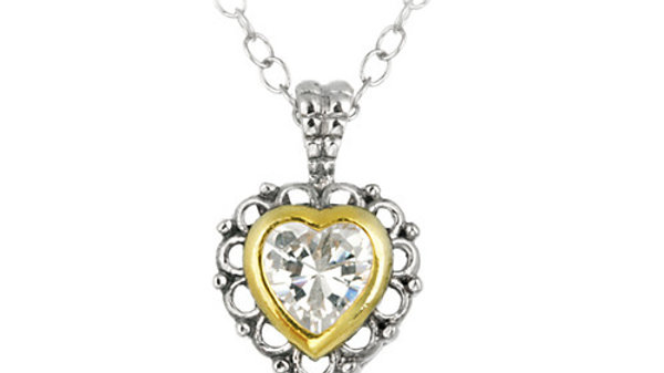Sterling Silver Two Tone Designer Inspired CZ Heart Pendant w/ Filigree Border