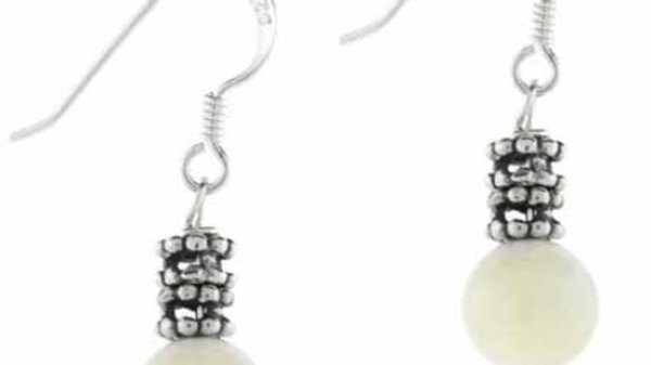 Sterling Silver White Mother of Pearl Dangle Earrings