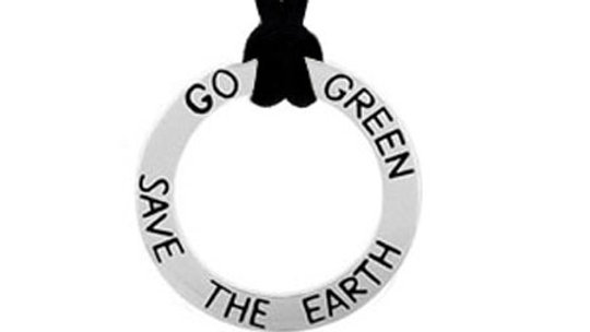 """Sterling Silver Inspirational """"Go Green Save The Earth"""" Pendant"""