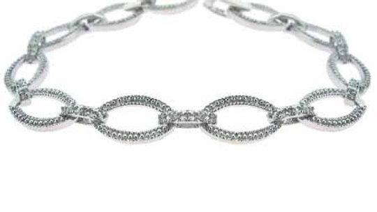 Sterling Silver CZ Slender Leaf Link Bracelet