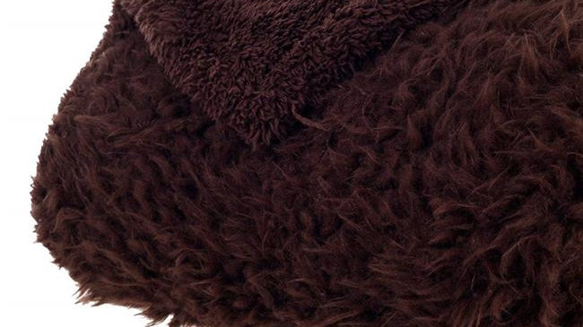 Bedford Home Solid Soft Plush Sherpa Fleece Throw Blanket; Coffee
