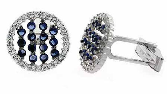 Sterling Silver Blue & Clear CZ Striped Round Men's Cufflinks