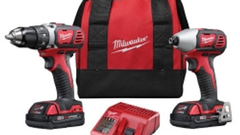 Milwaukee 2-Pc M18 Compact Drill/Driver & Impact Wrench Combo w/ (2) Battery Kit